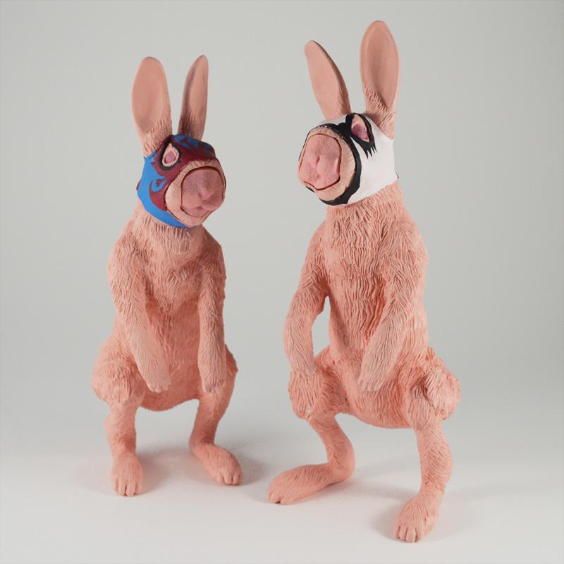 ブローチ作品『仮面ウサギ兄弟』
