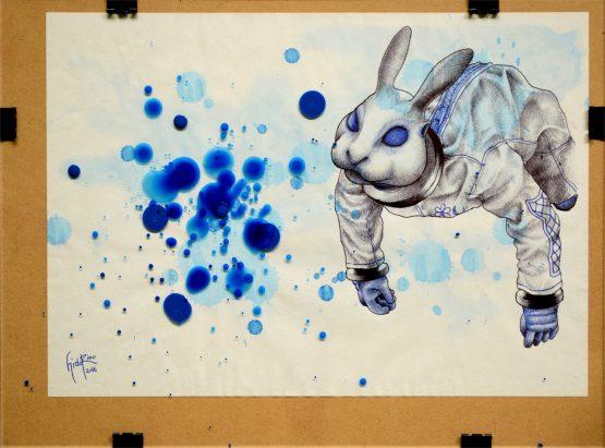 #003 本誌4~5頁のイメージをほぼそのまま描き出しました。 ウサギ星人はブルーな気持ちをどうやって取り込むのだろう? 口から飲み込むのだろうか、それとも体全体に吸収するような感じ? そんなことを想像しながら描きました。