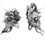 ドローイング『Roosters』